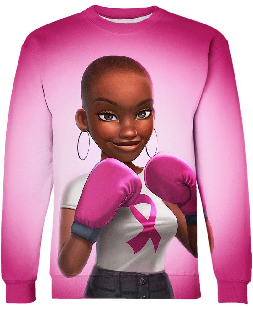 Black Girl Pink Warrior October Breast Cancer Awareness Hoodie 3D - Sweatshirt 3D