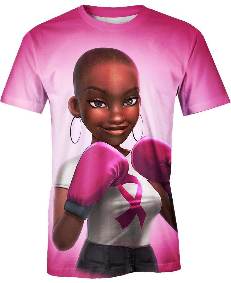 Black Girl Pink Warrior October Breast Cancer Awareness Hoodie 3D - T-shirt 3D