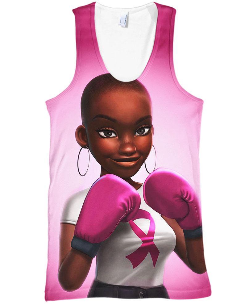 Black Girl Pink Warrior October Breast Cancer Awareness Hoodie 3D - Tank top 3D