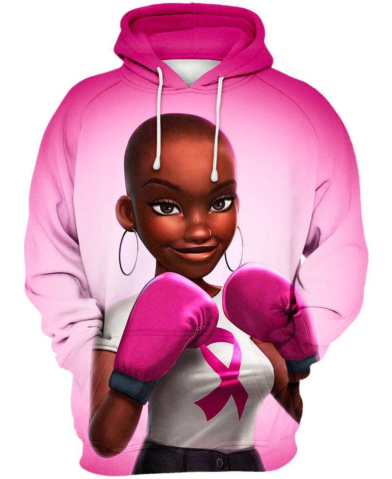 Black Girl Pink Warrior October Breast Cancer Awareness Hoodie 3D