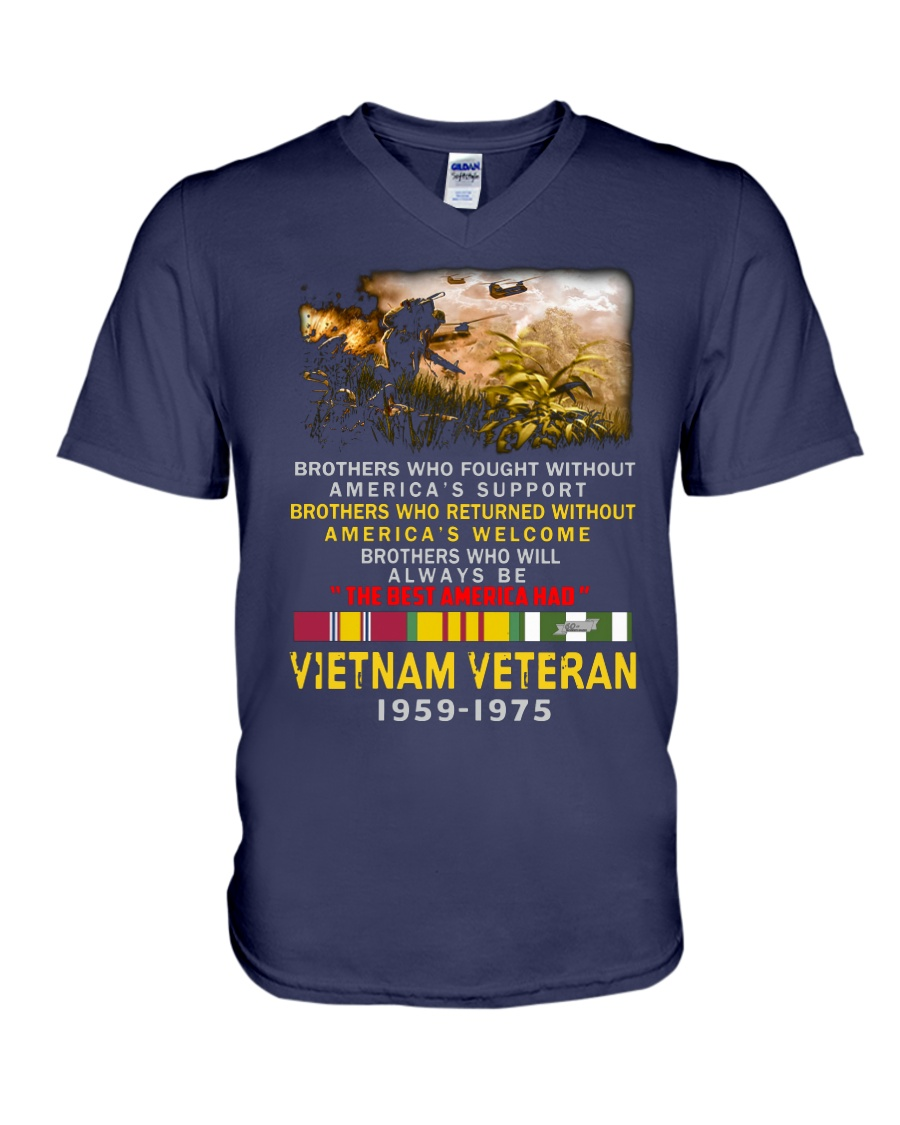 Brothers who fought without America's support Vietnam veteran 1959-1975 v-neck