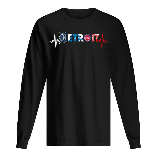 Detroit pro team logo heart rate long sleeved t-shirt