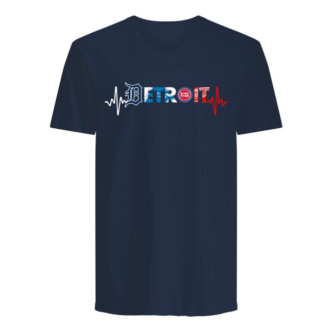 Detroit pro team logo heart rate v-neck