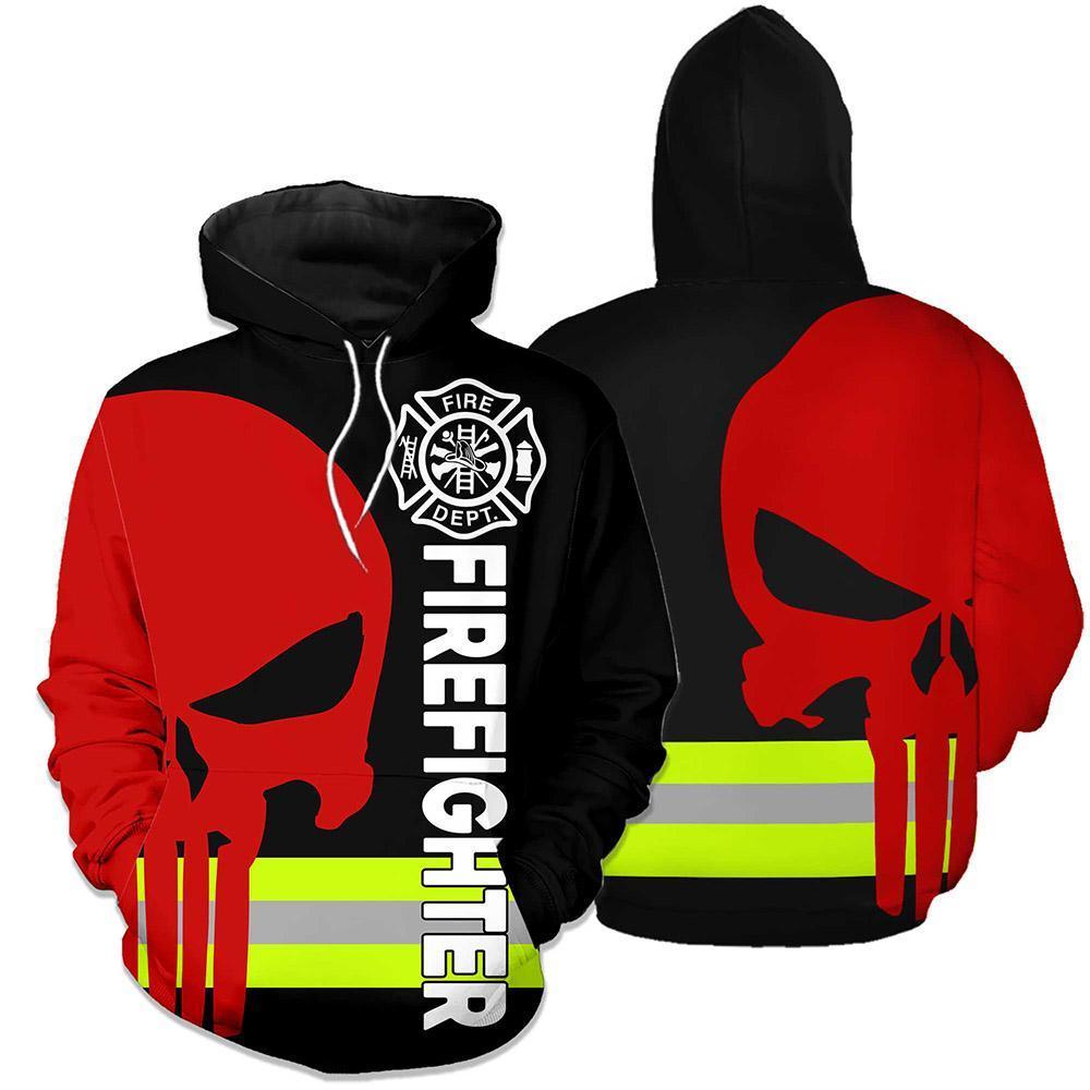 Firefighter Skull Fire Dept 3D hoodie - Black