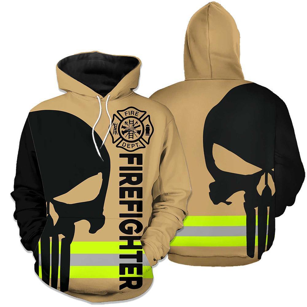 Firefighter Skull Fire Dept 3D hoodie - Brown