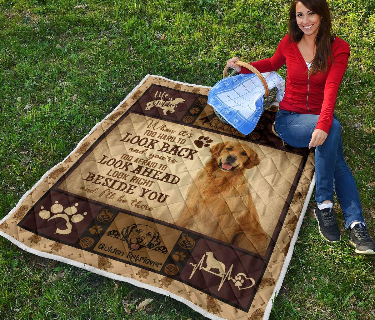 Golden Retriever when it's too hard to look back quilt blanket - picture 2