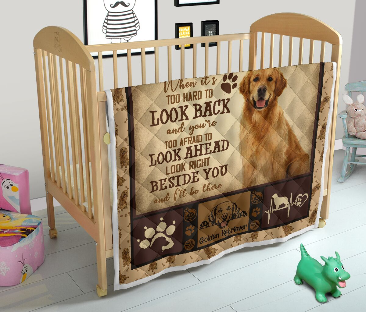 Golden Retriever when it's too hard to look back quilt blanket - picture 3