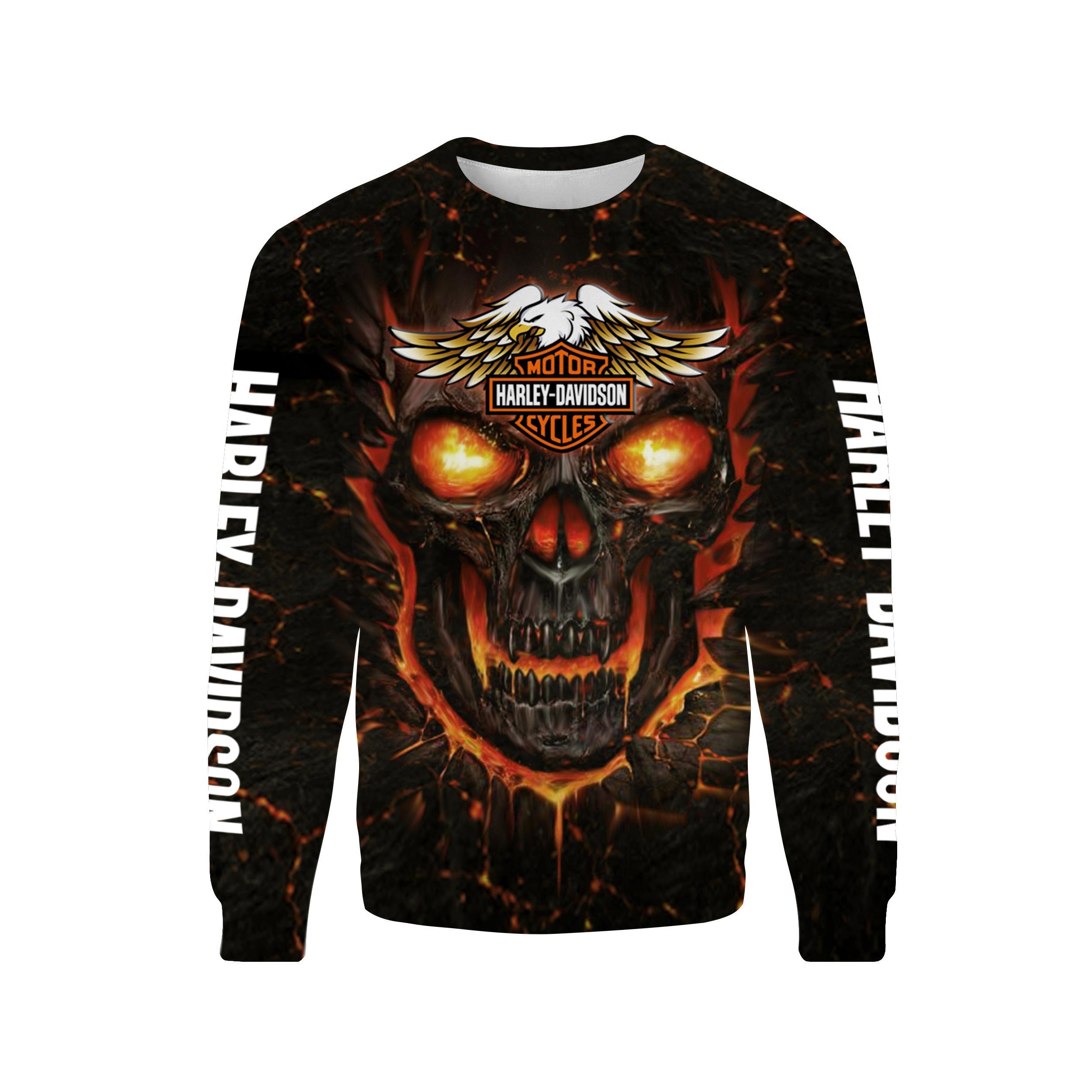 Harley-Davidson Skull Hoodie 3d - Sweatshirt 3d