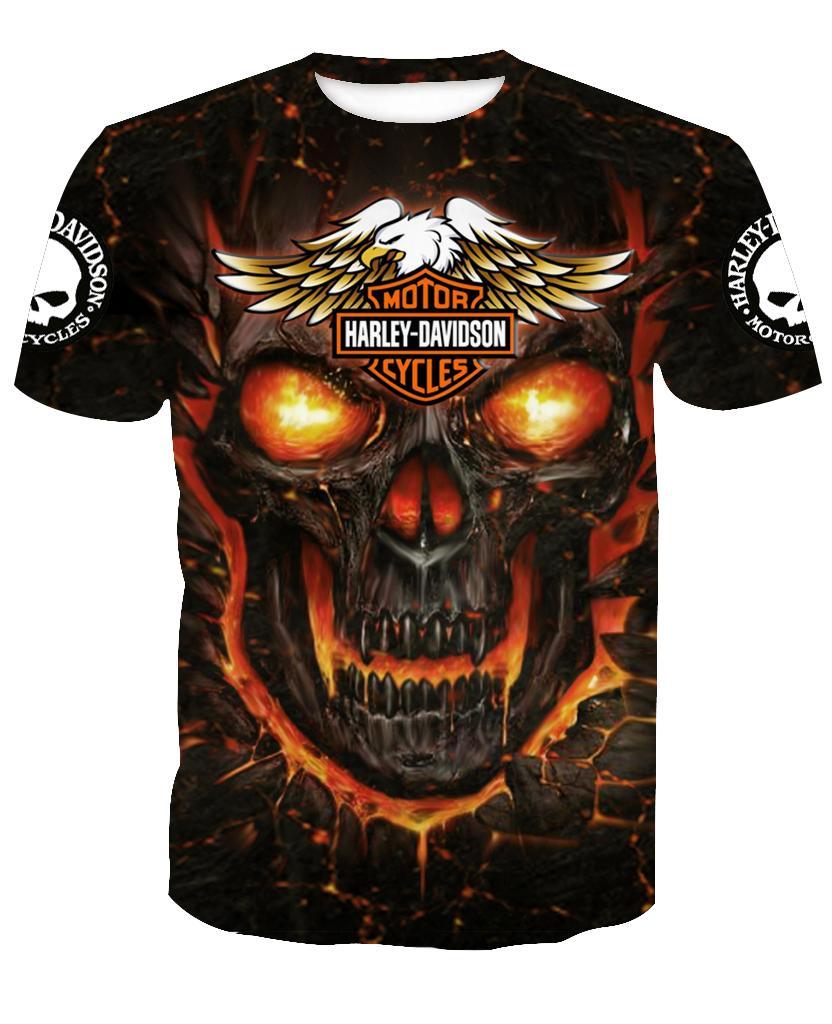 Harley-Davidson Skull Hoodie 3d - T-shirt 3d