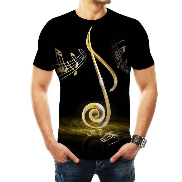 Music Notes T-shirt 3D - Yellow