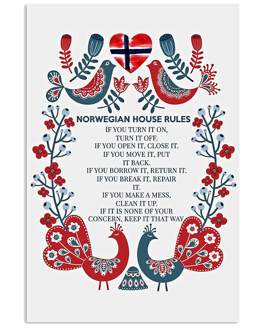Norwegian house rules poster 11x17