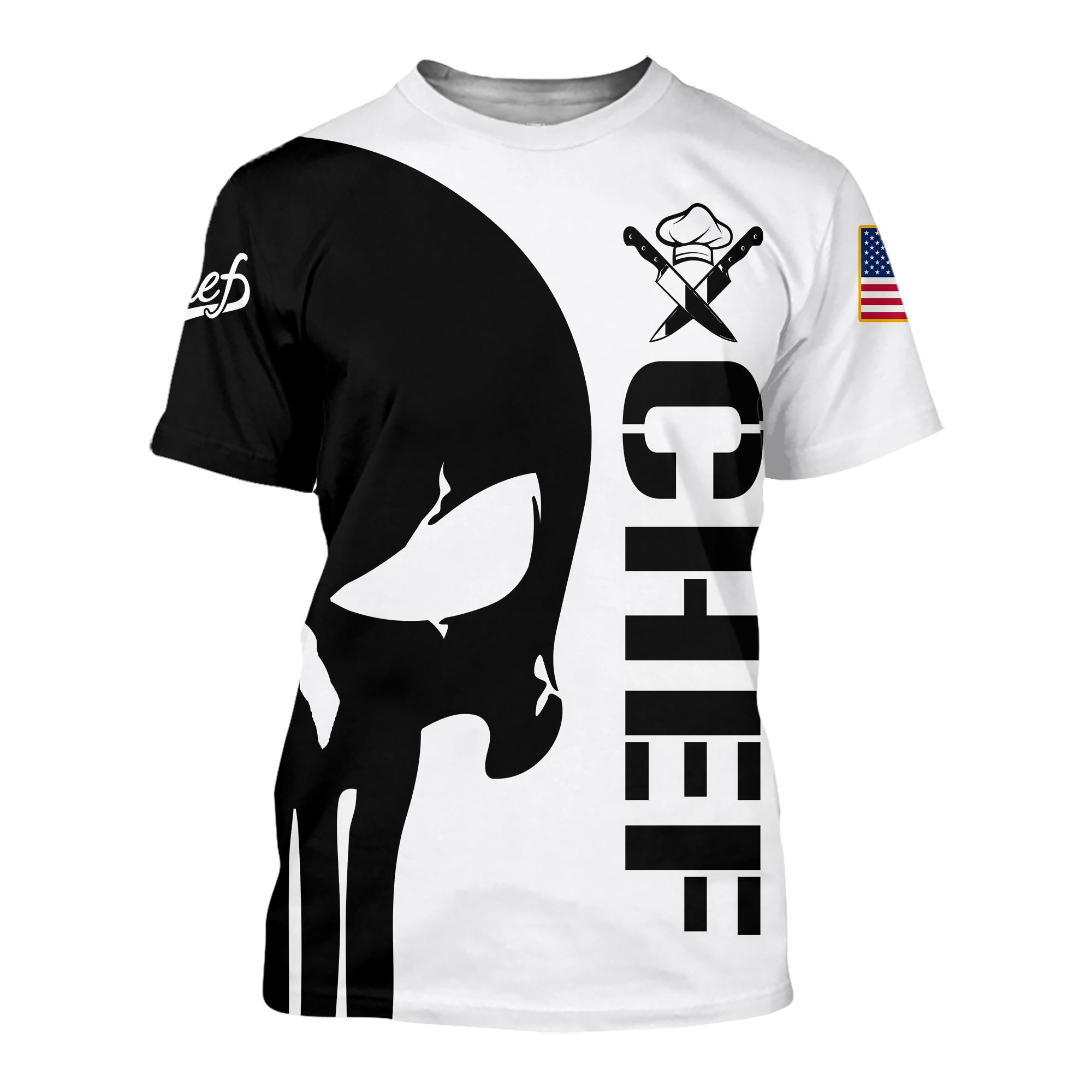 Punisher skull Chef 3d hoodie t-shirt 3d