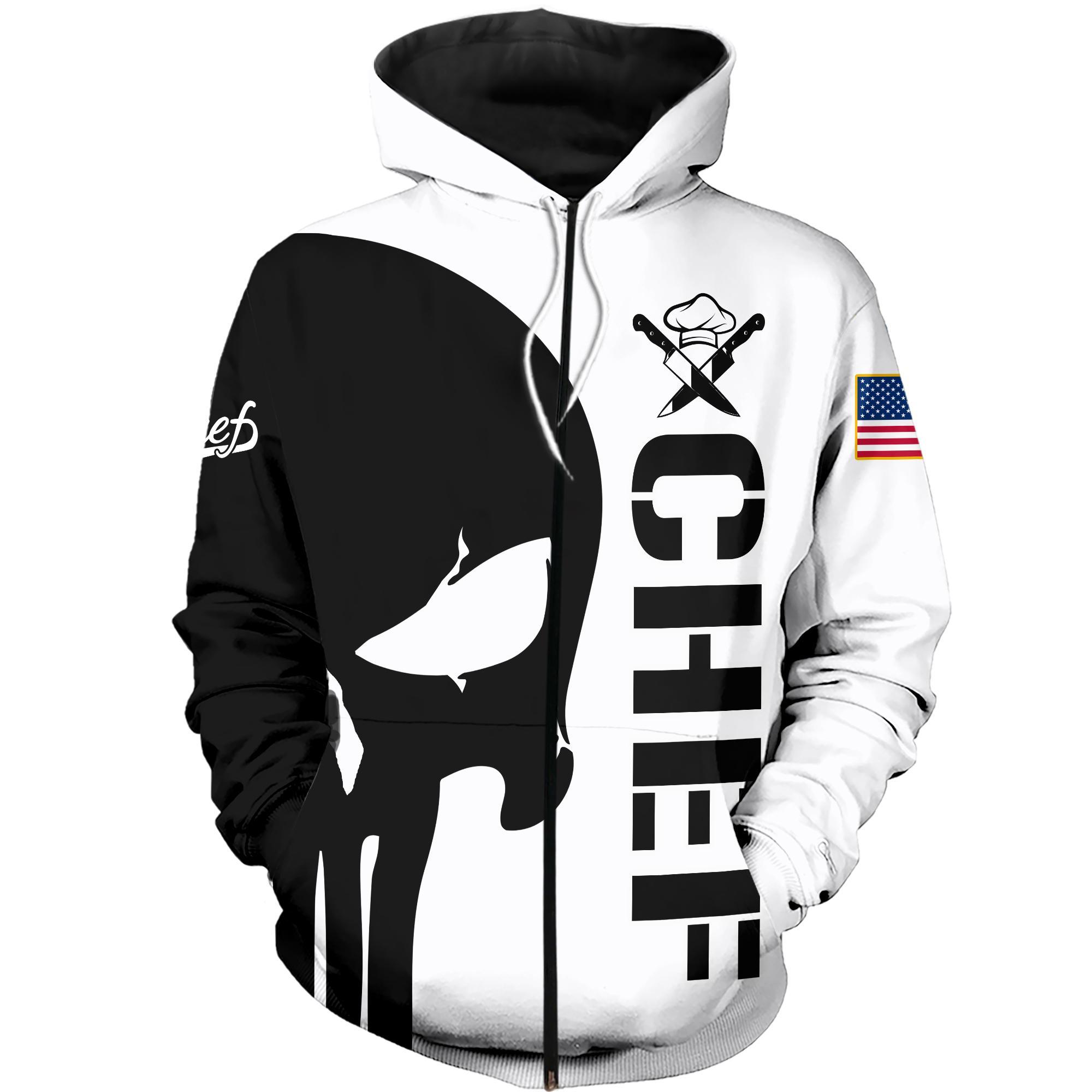 Punisher skull Chef 3d hoodie zipped hoodie 3d
