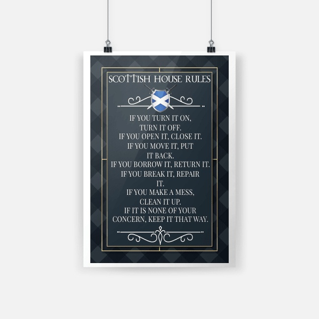 Scottish house rules if you turn it on poster A4 (210 x 297mm)