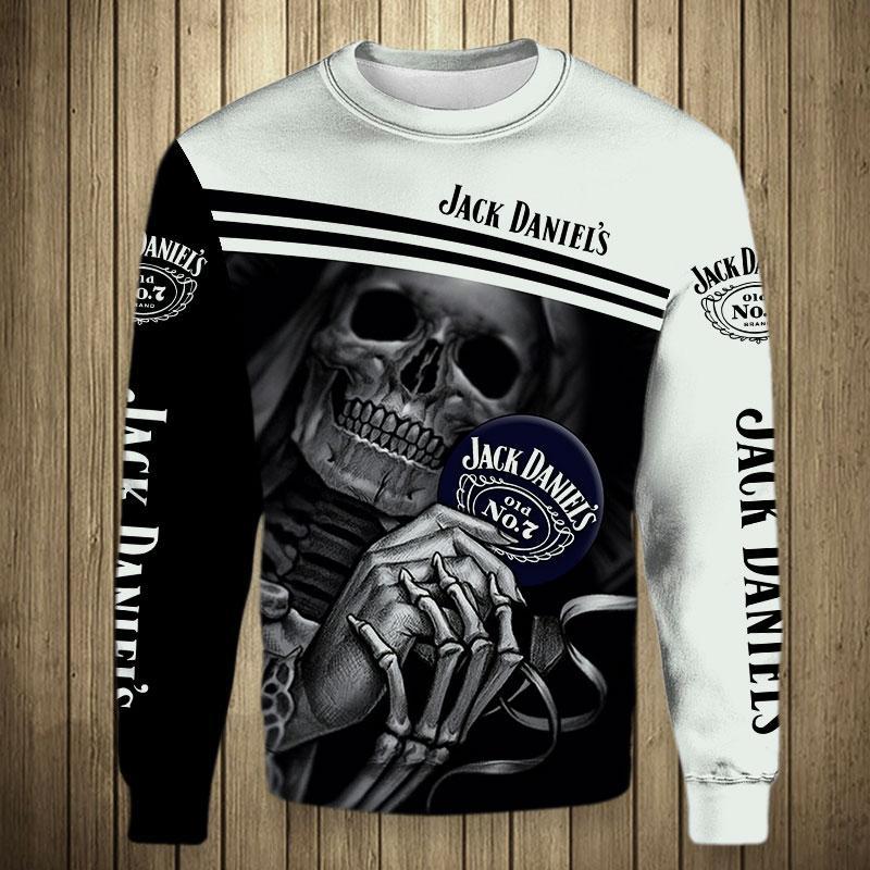 Skull Skeleton Jack Daniel's Hoodie 3D - Long sleeved shirt 3D