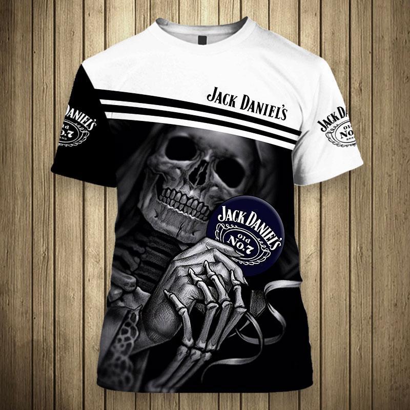 Skull Skeleton Jack Daniel's Hoodie 3D - T-shirt 3D