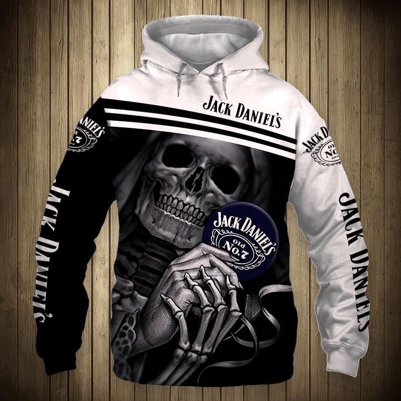 Skull Skeleton Jack Daniel's Hoodie 3D