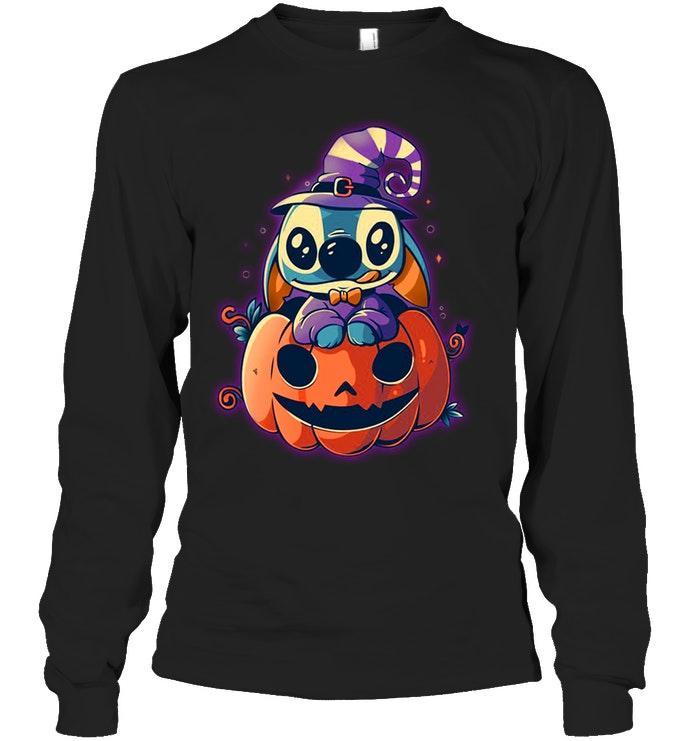 Stitch witch pumpkin long sleeve tee