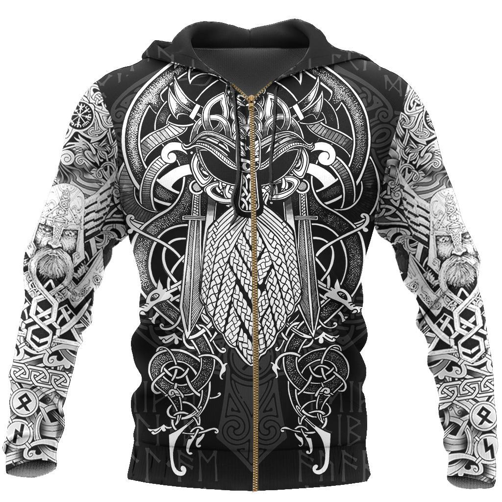 Vikings Odin Hoodie 3D - Zipped hoodie 3D