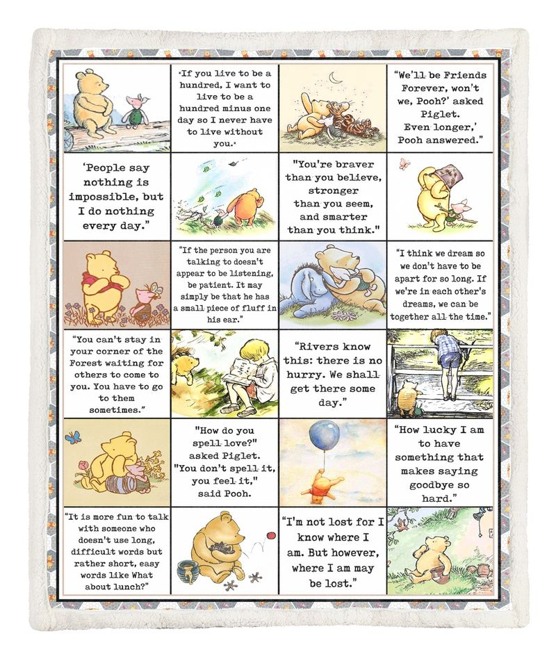 Winnie the Pooh Quotes Blanket Quilt