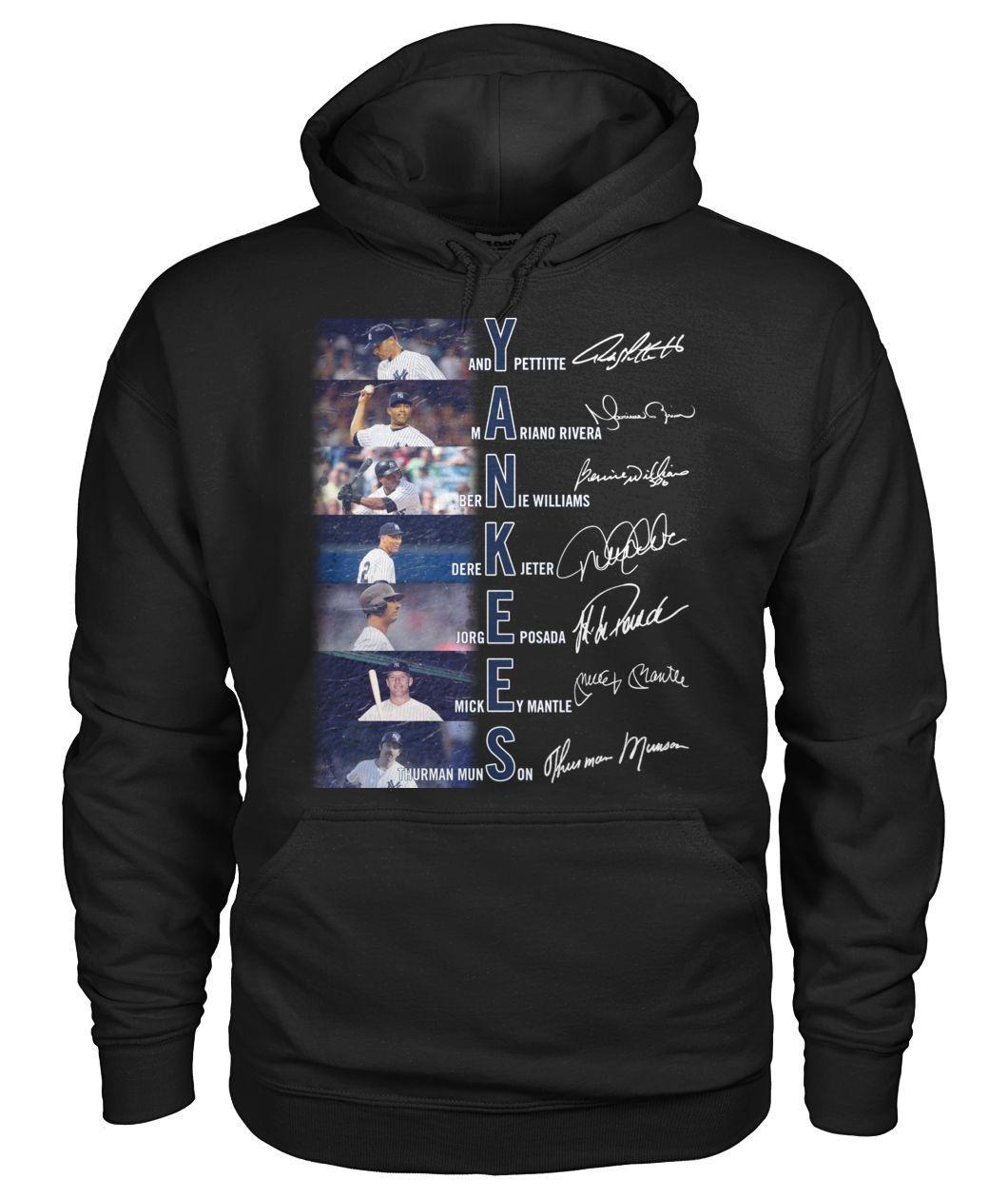 Yankees Andy Pettitte Mariand Rivera Bernie Williams Derek Jeter signature hoodie
