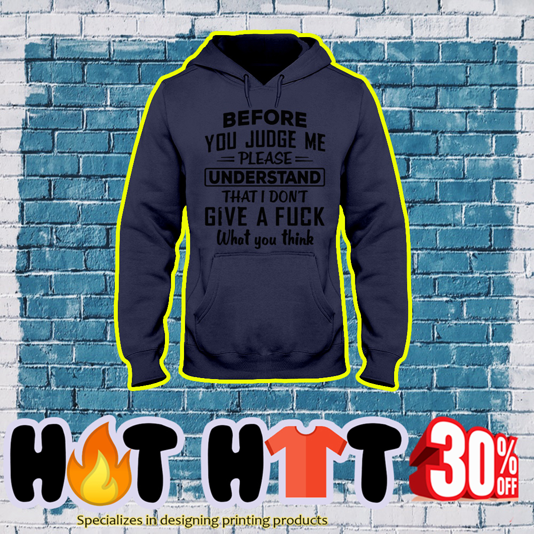 Before you judge me please understand that I don't give a fuck what you think hoodie