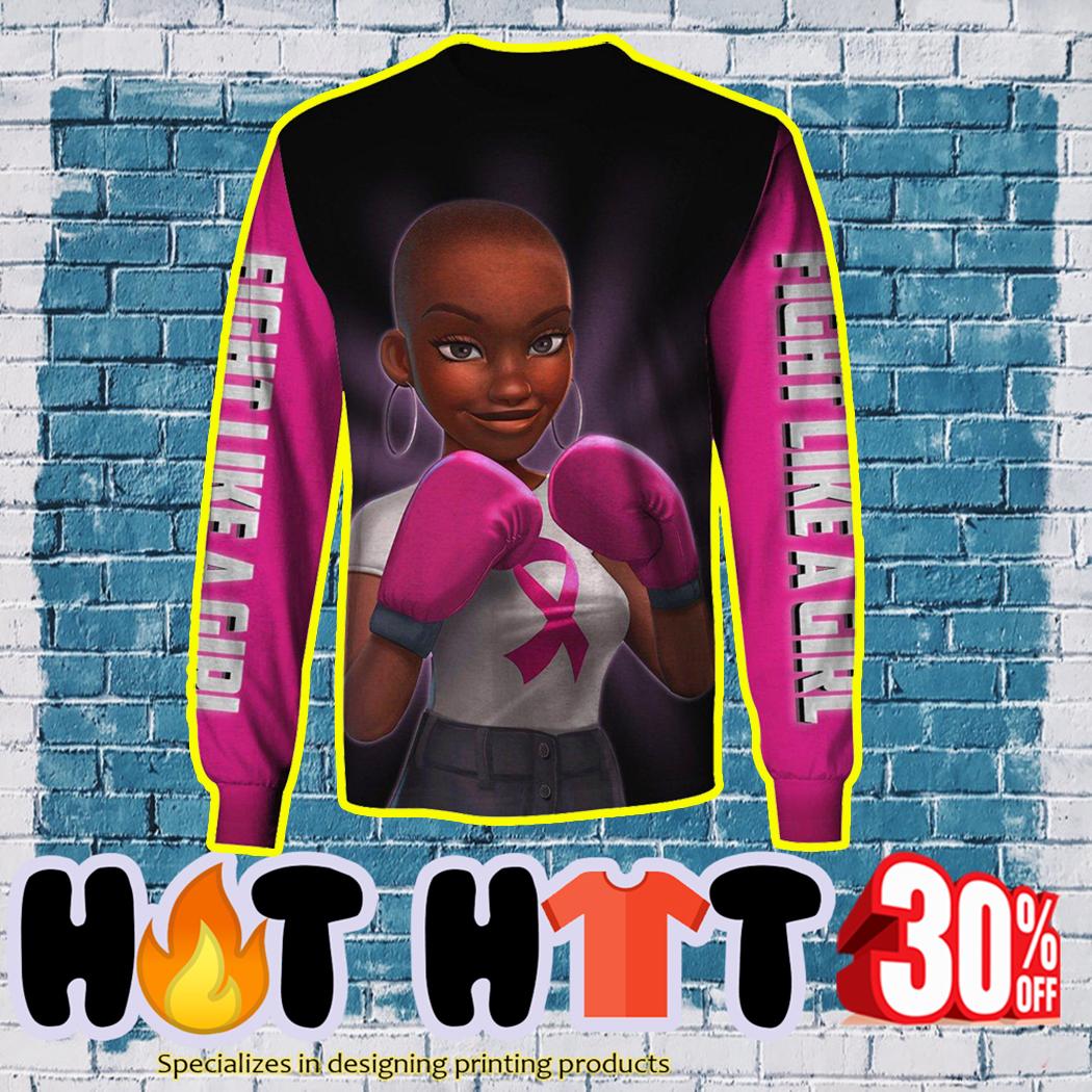 Black Girl Pink Warrior Fight Like a Girl 3D long sleeve tee