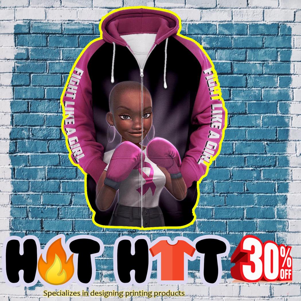 Black Girl Pink Warrior Fight Like a Girl 3D zip hoodie