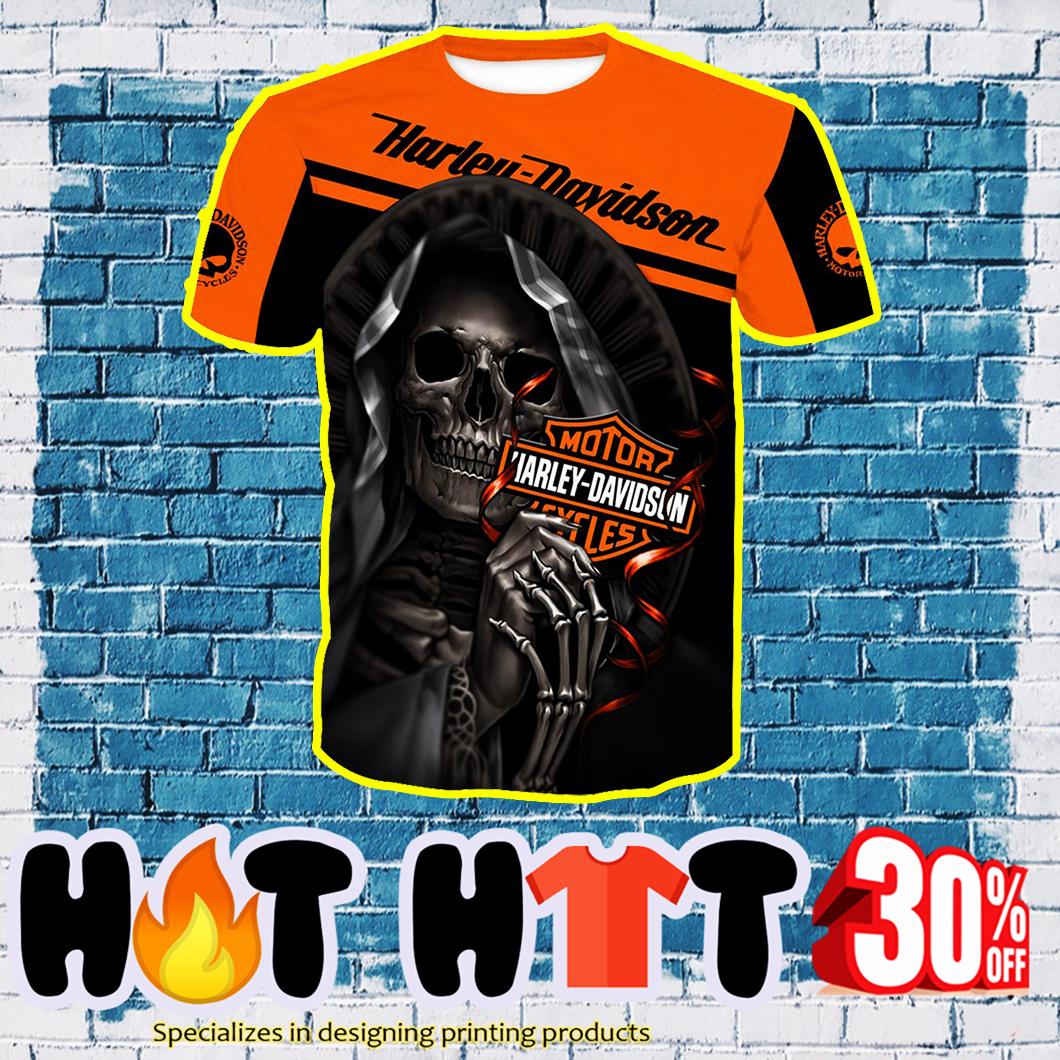 Harley-Davidson Motorcycle Skull Full Over Print 3D T-shirt