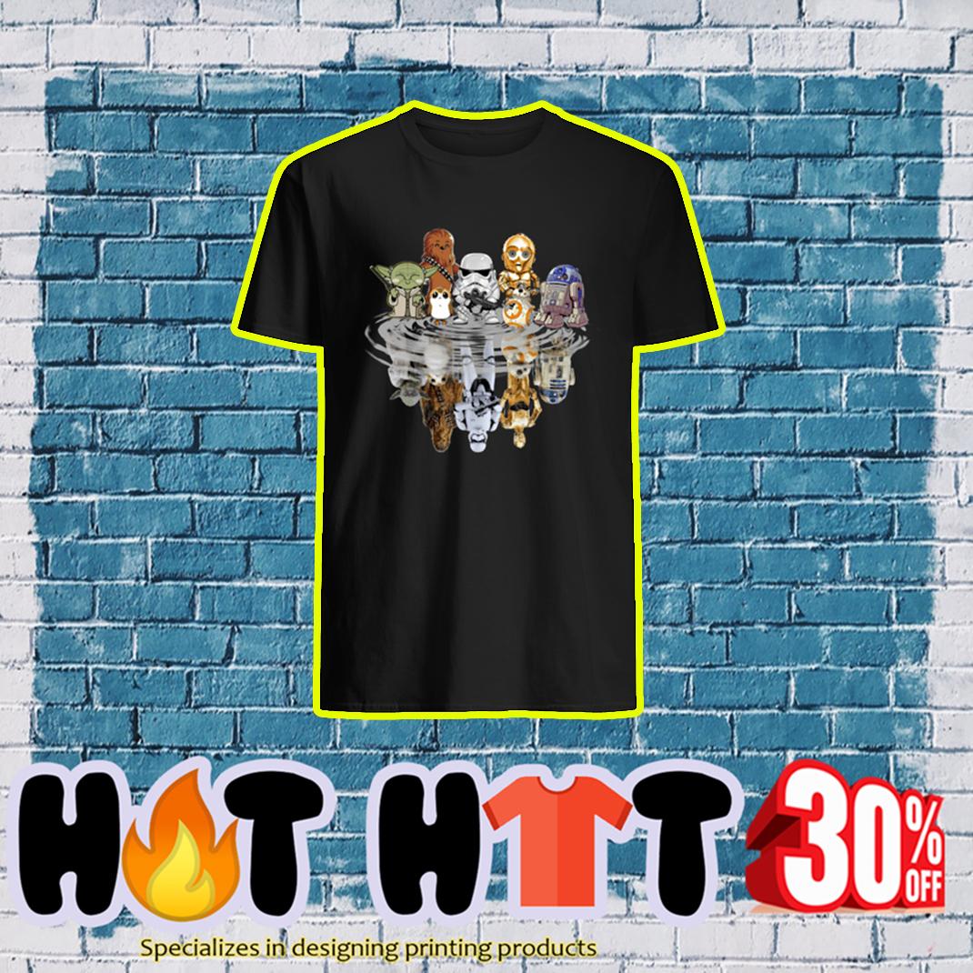Star Wars characters Yoda Chewbacca Porgs Stormtrooper R2-D2 C-3PO BB-8 Reflection shirt