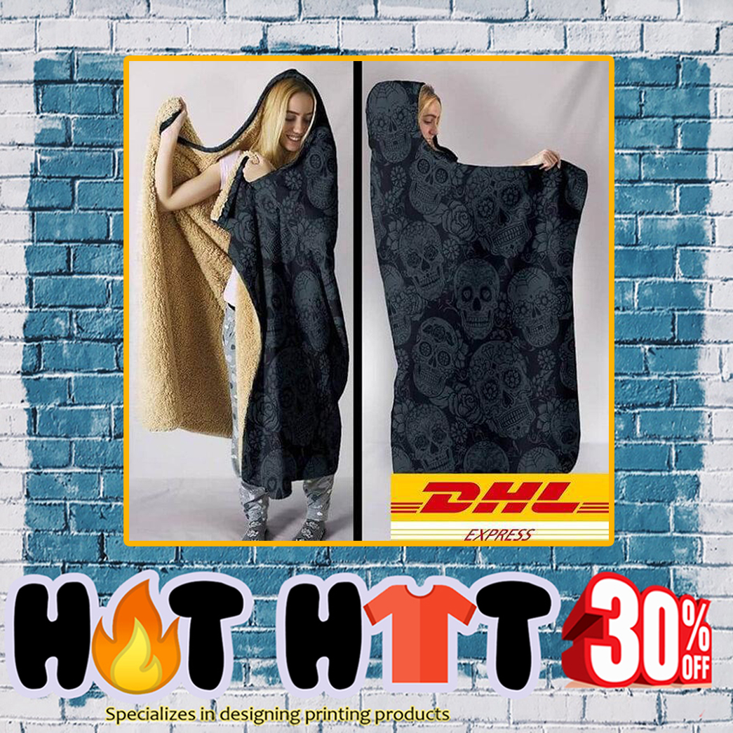 Sugar Skull Hooded Blanket