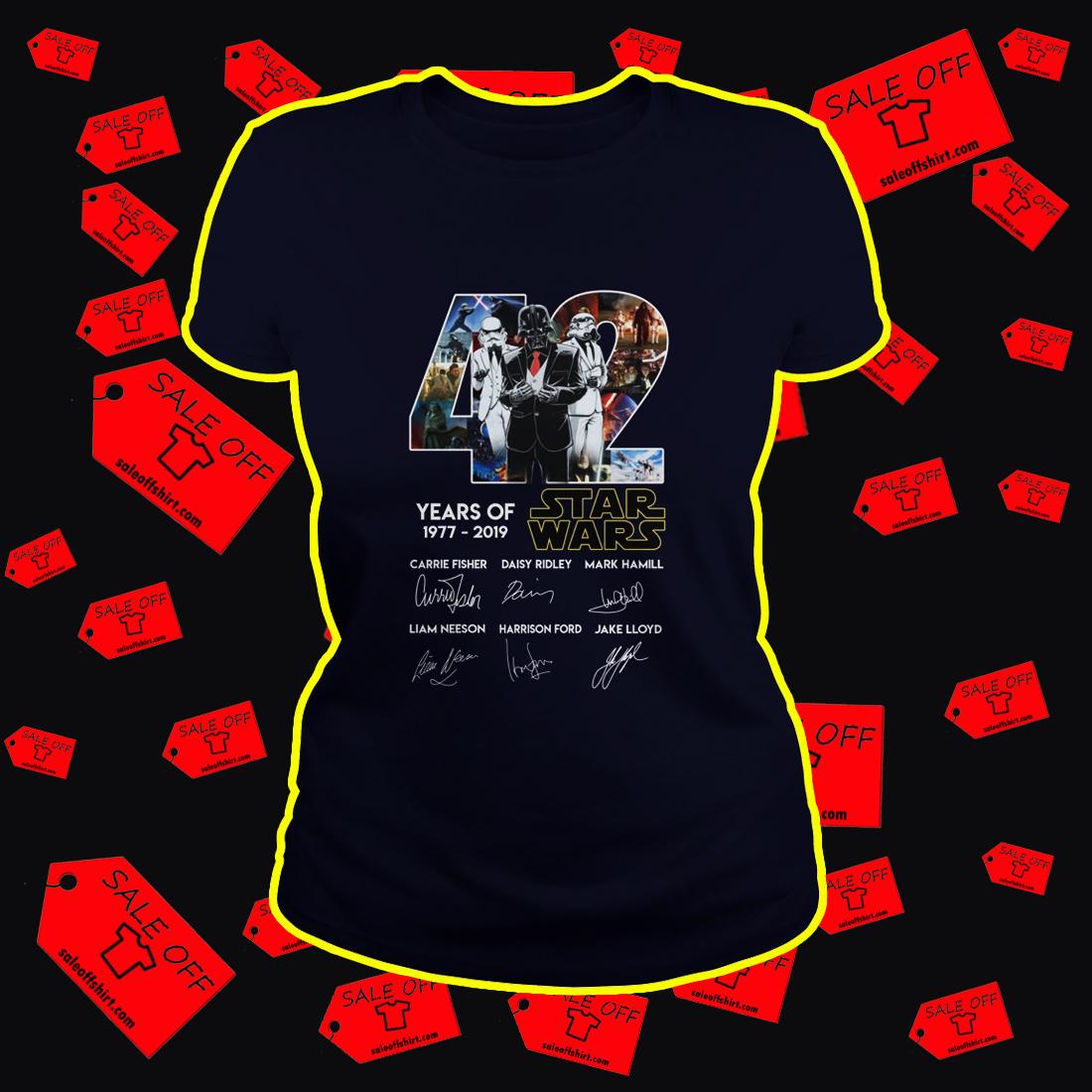 42 Years Of Star Wars 1977 2019 Darth Vader lady shirt