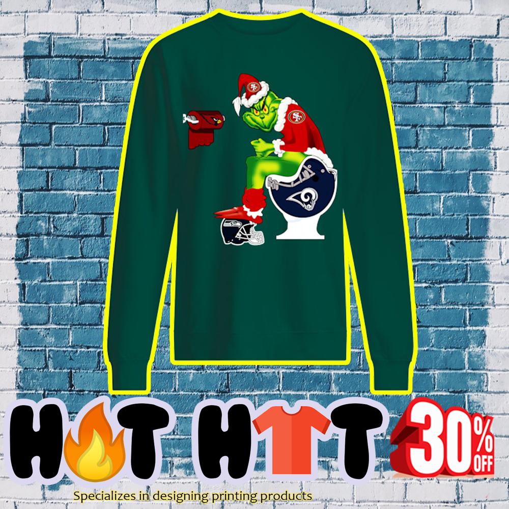 49ers Grinch Santa Sitting on Rams Toilet Cardinals Seahawks sweatshirt