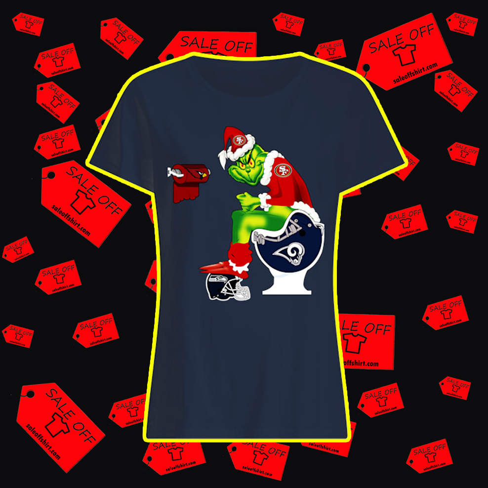 49ers Grinch Sitting on Rams Toilet Cardinals Toilet Paper Seahawks lady shirt