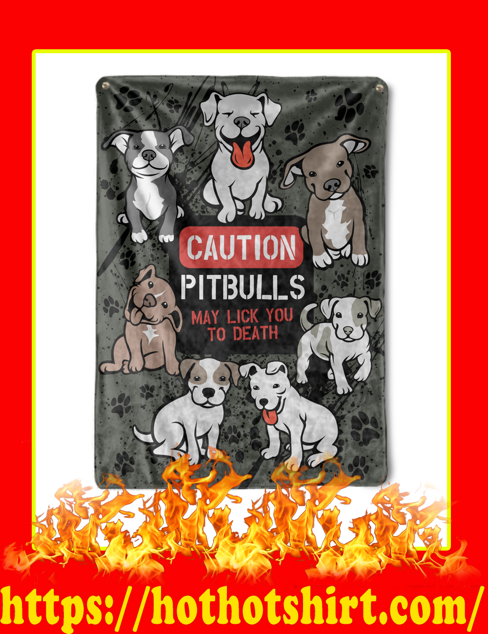 Caution Pitbulls May Lick You To Death Blanket