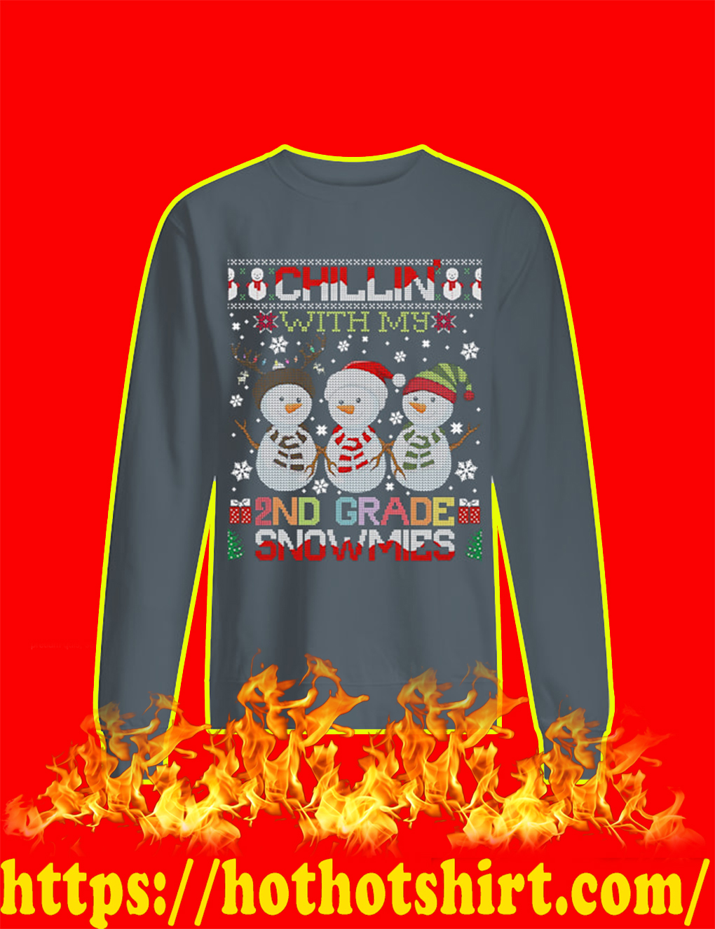 Chillin' With My 2ND Grade Snowmies Ugly Christmas Sweater- grey