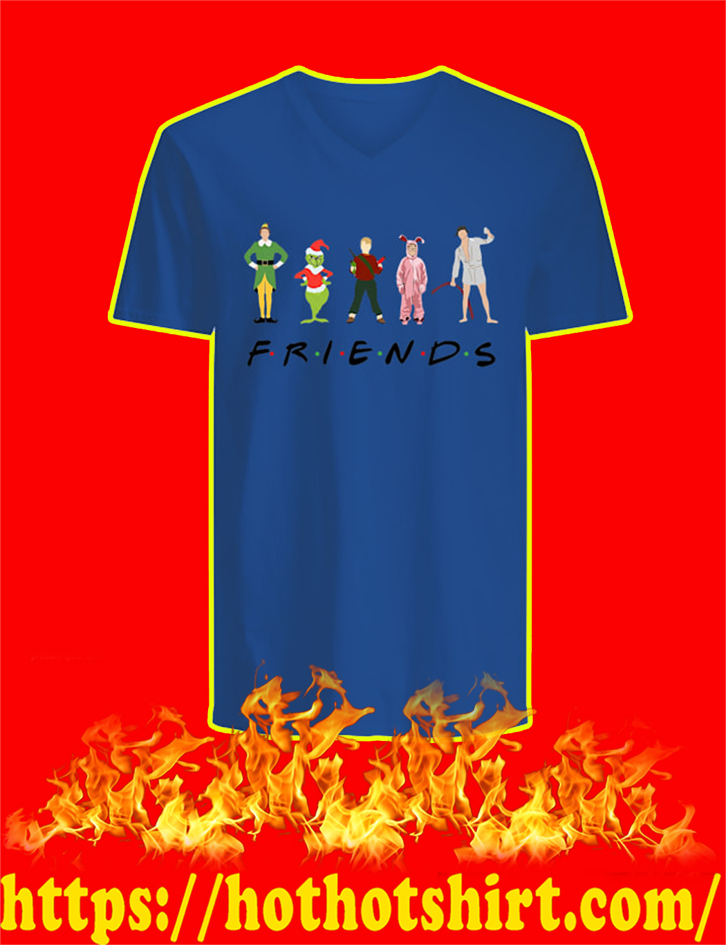 Christmas Characters Elf Grinch Kevin Friends v-neck