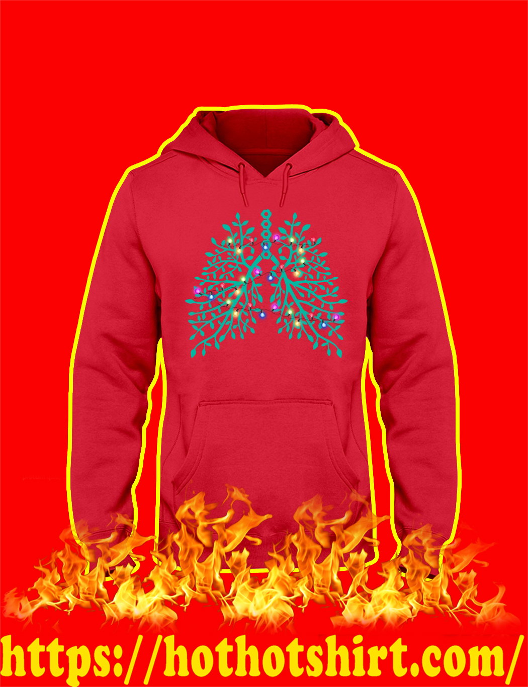 Christmas Light Respiratory Therapy Lungs hoodie