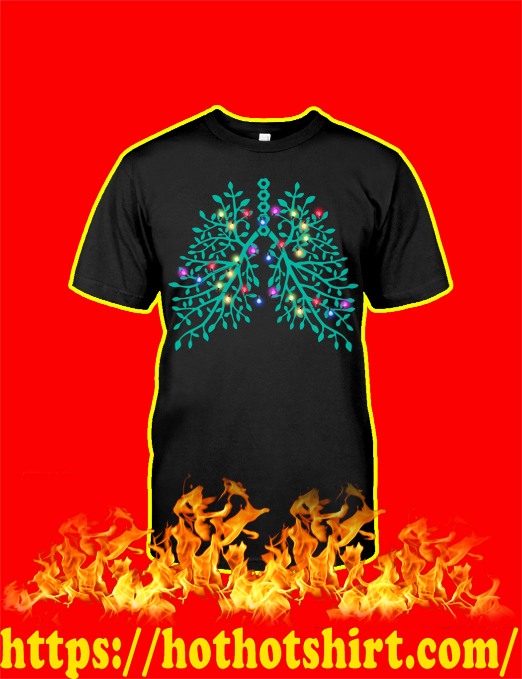 Christmas Light Respiratory Therapy Lungs shirt