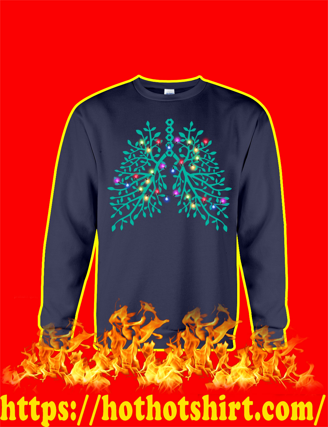 Christmas Light Respiratory Therapy Lungs sweatshirt