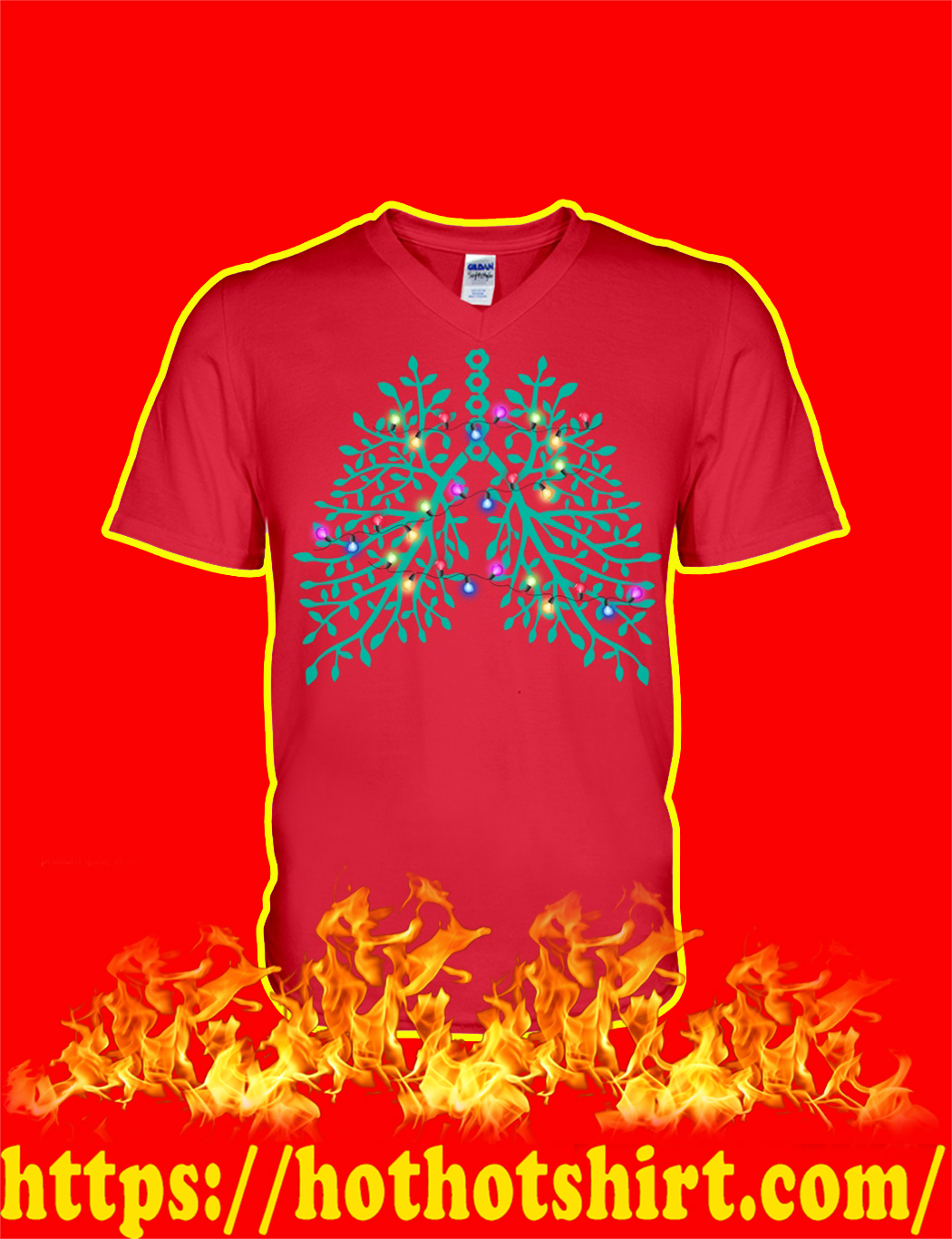 Christmas Light Respiratory Therapy Lungs v-neck
