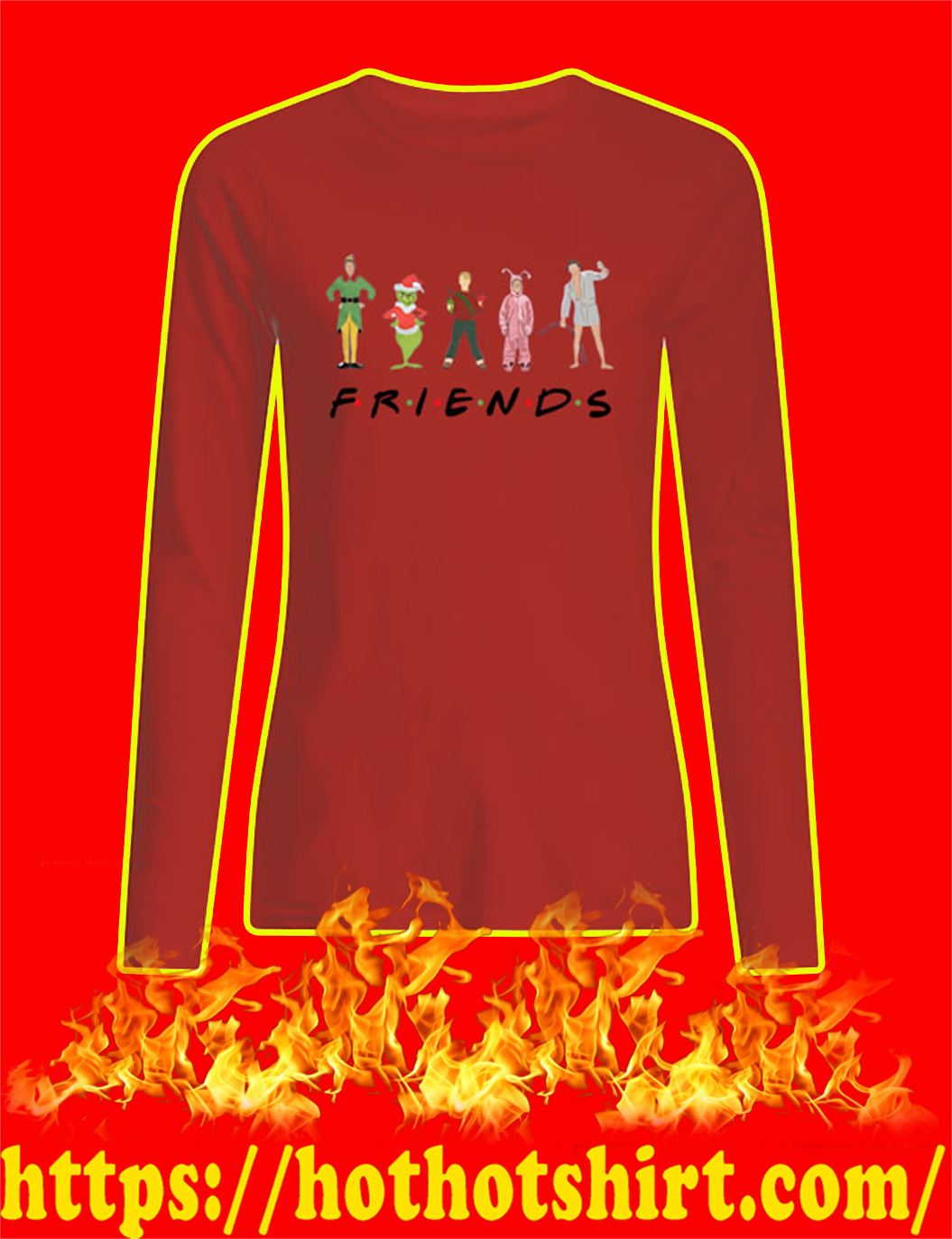 Christmas Movies Chracters Friends TV Show longsleeve tee
