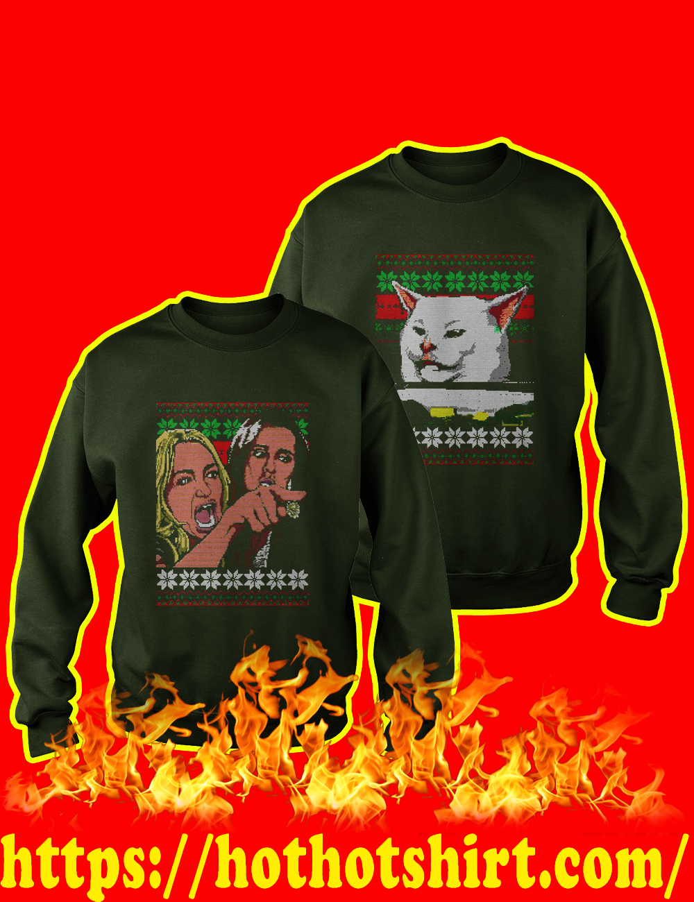 Couple Woman Yelling at a Cat Meme Ugly Christmas Sweater-forest Green