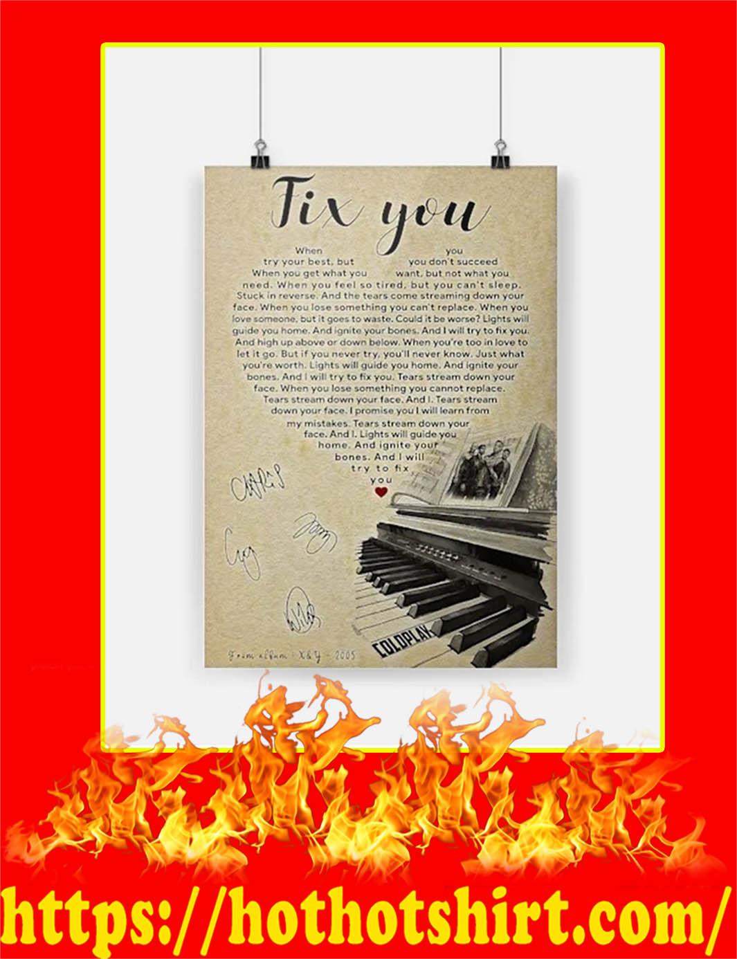 Fix You Coldplay Signature Poster - A2