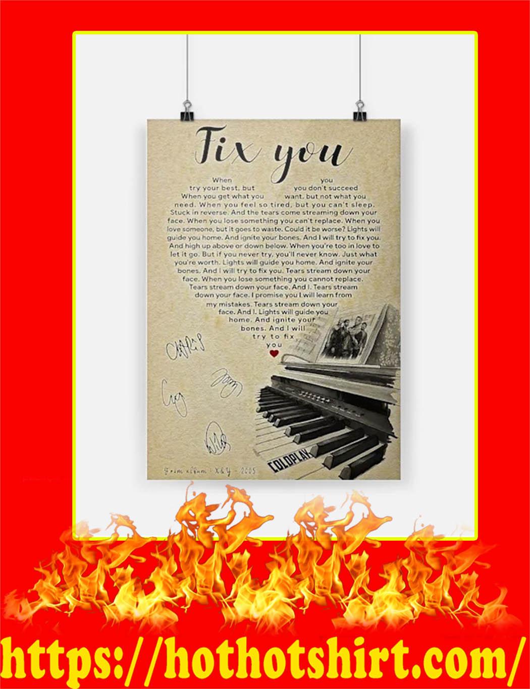 Fix You Coldplay Signature Poster - A3