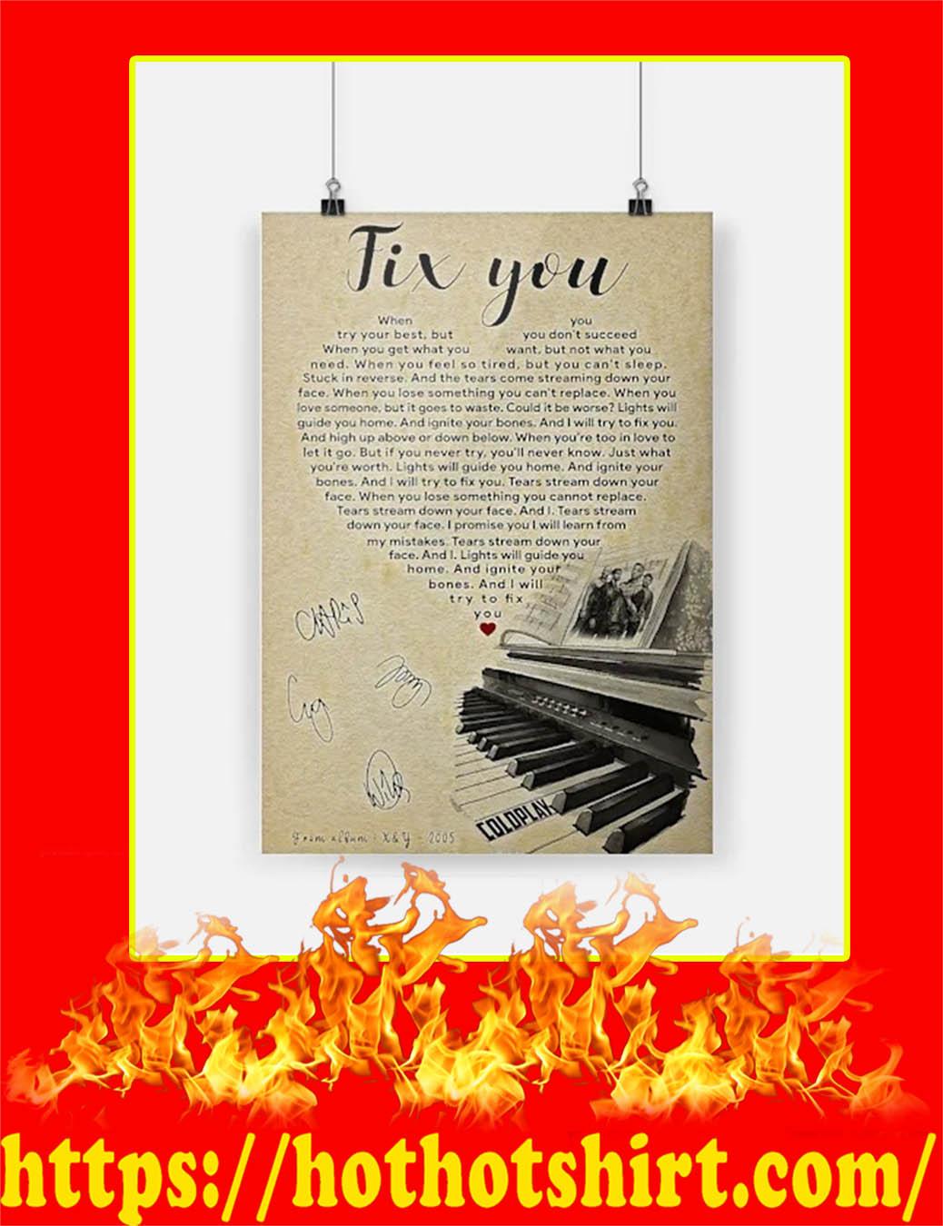 Fix You Coldplay Signature Poster - A4