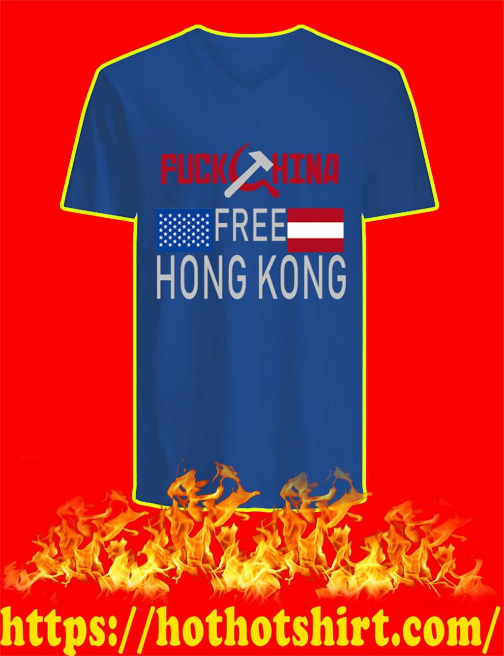 Fuck China Free Hong Kong v-neck