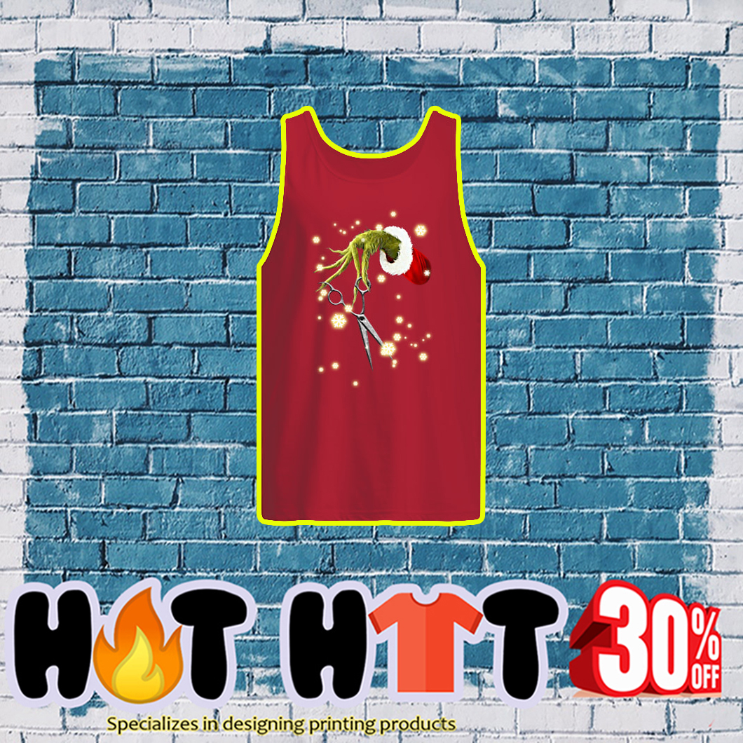 Grinch Hand Scissor Hair Stylist tank top