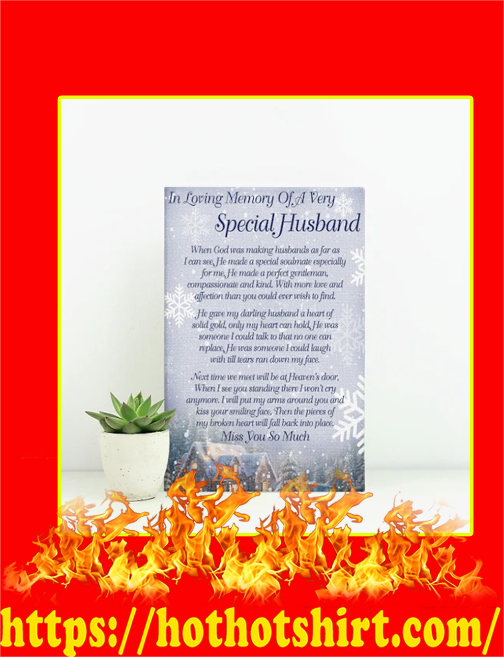 In Loving Memory Of A Very Special Husband Canvas - small