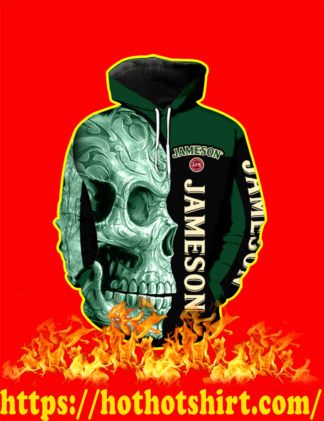 Jameson Irish Whiskey Skull Full Over Print 3d Hoodie